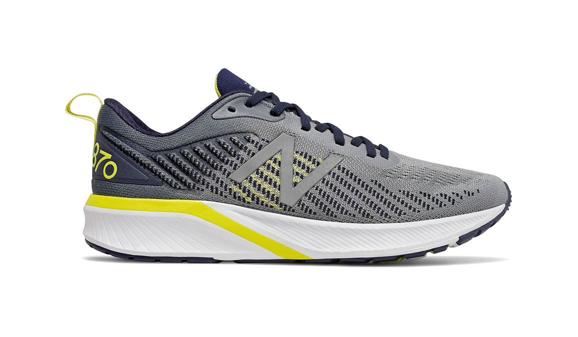 Men's New Balance 870v5 Running Shoe - Color: Gunmetal/Sulphur Yellow (Regular Width) - Size: 6.5, Grey/Yellow, large, image 1