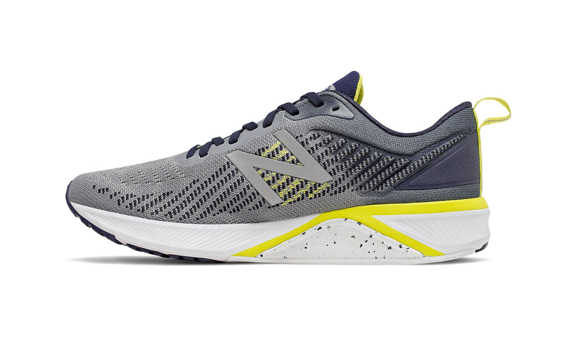 Men's New Balance 870v5 Running Shoe - Color: Gunmetal/Sulphur Yellow (Regular Width) - Size: 6.5, Grey/Yellow, large, image 2