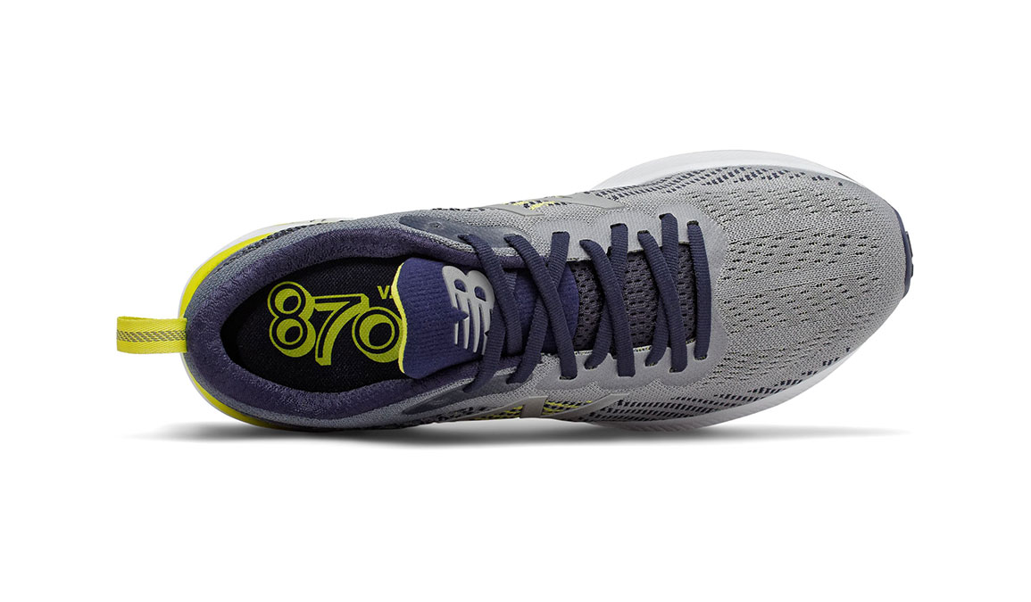 Men's New Balance 870v5 Running Shoe - Color: Gunmetal/Sulphur Yellow (Regular Width) - Size: 6.5, Grey/Yellow, large, image 3