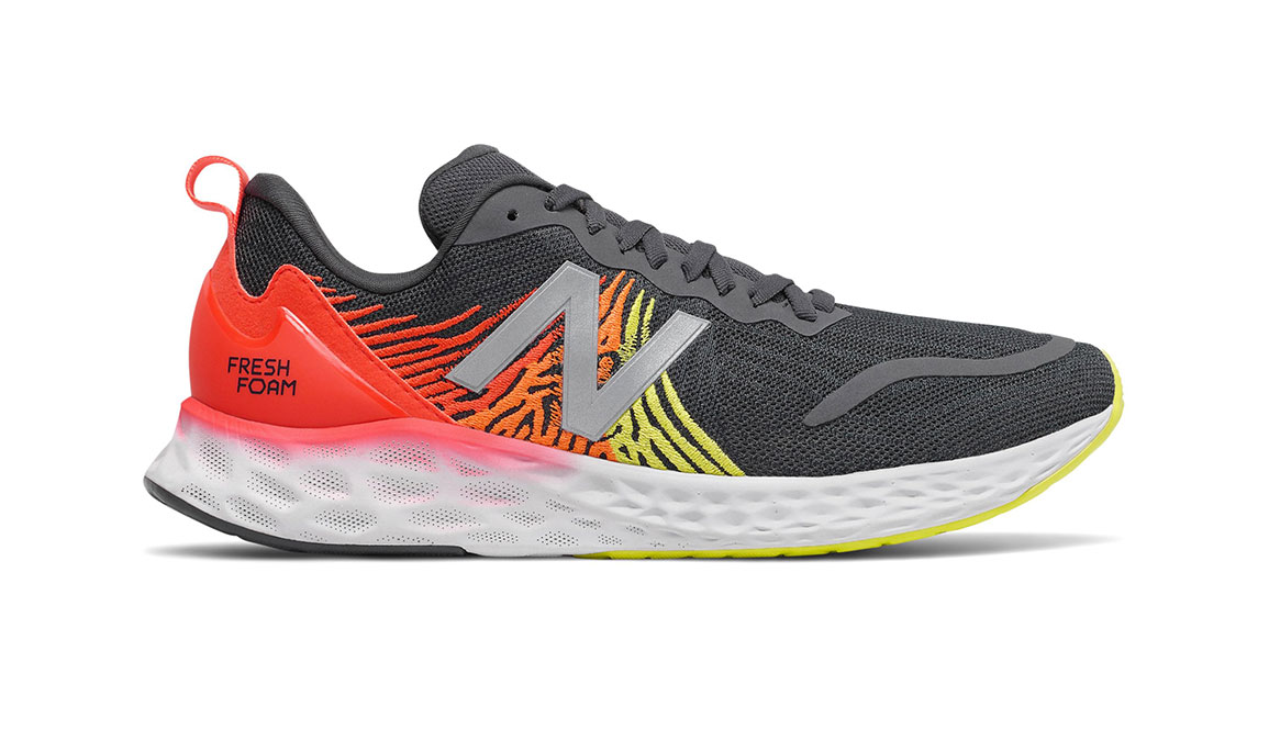 Men's New Balance Fresh Foam Tempo Running Shoe - Color: Phantom/Neo Flame/Sulphur Yellow (Regular Width) - Size: 7, Grey/Red, large, image 1