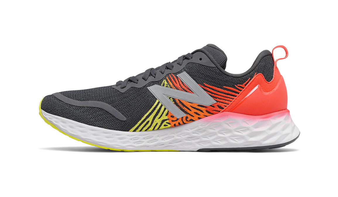Men's New Balance Fresh Foam Tempo Running Shoe - Color: Phantom/Neo Flame/Sulphur Yellow (Regular Width) - Size: 7, Grey/Red, large, image 4