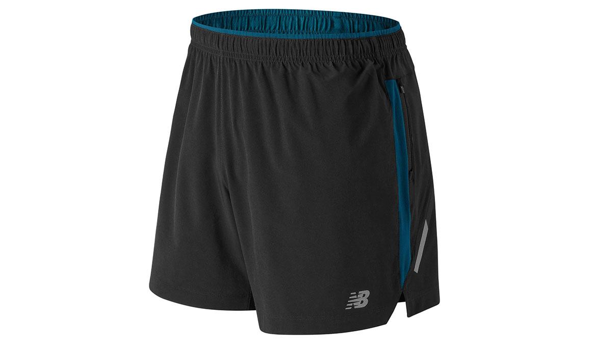 "Men's New Balance Impact 5"" Shorts - Color: Black/Blue Size: M, Black/Blue, large, image 1"