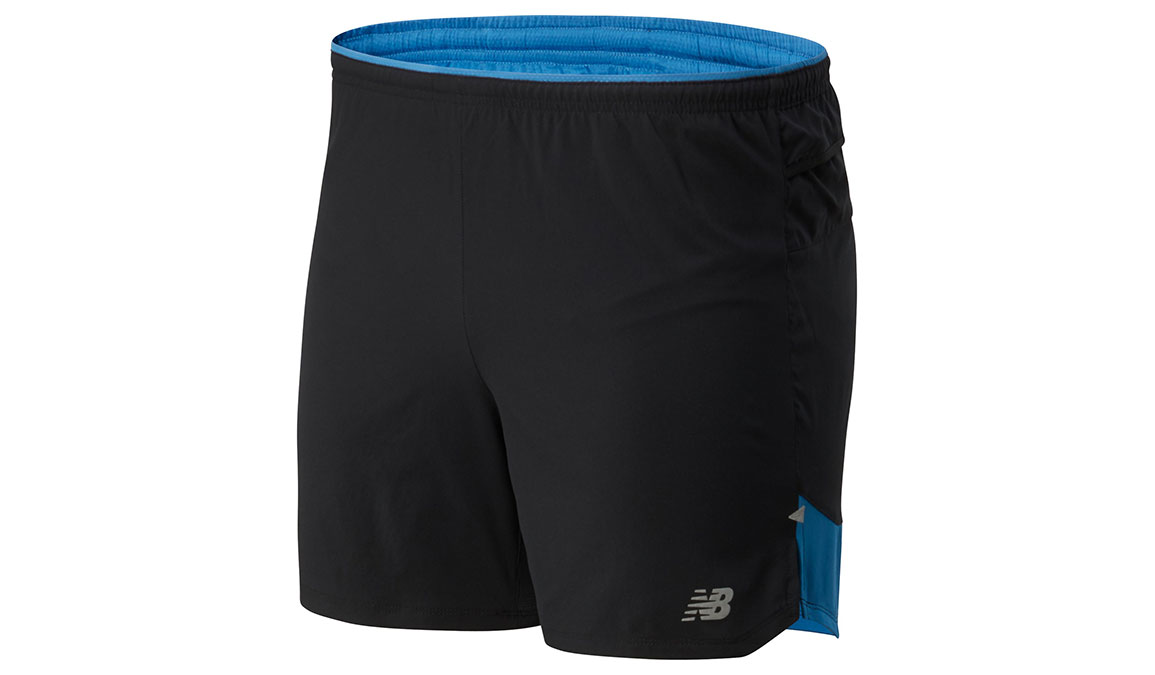 "Men's New Balance Impact Run 5"" Short - Color: Mako Blue/Black Size: XL, Blue/Black, large, image 1"