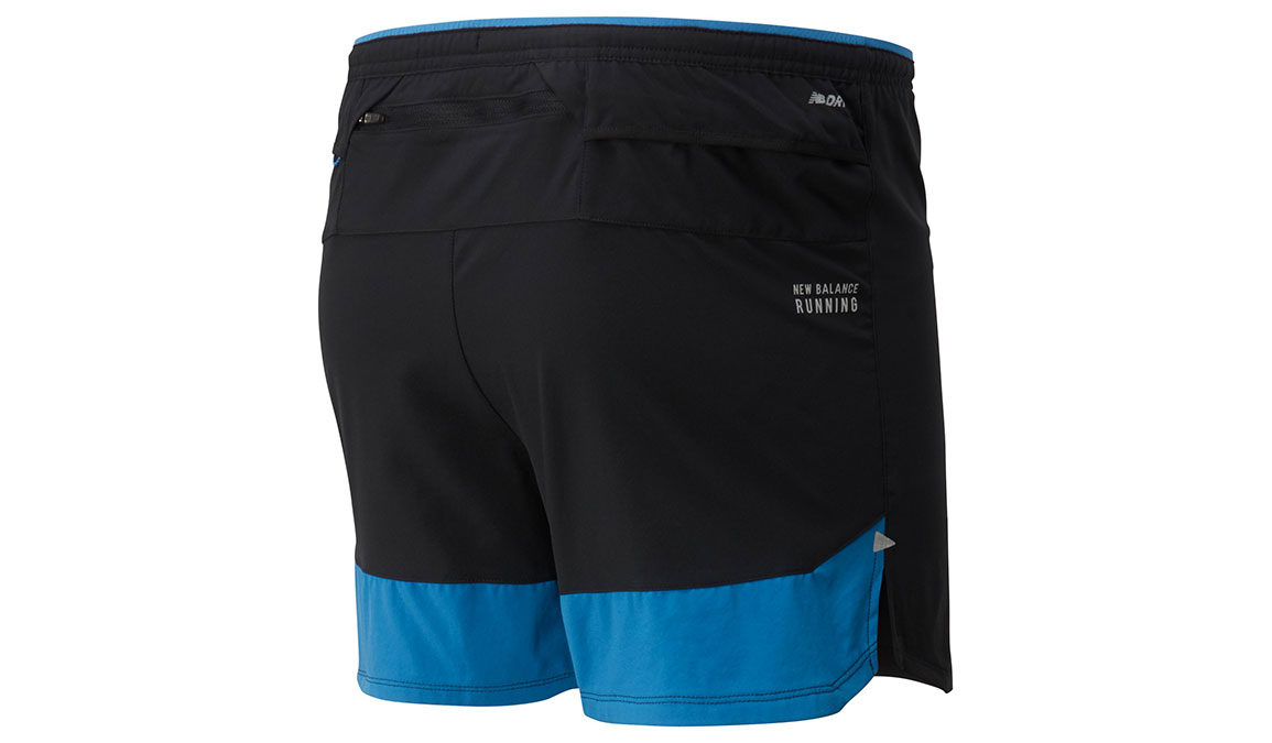 "Men's New Balance Impact Run 5"" Short - Color: Mako Blue/Black Size: XL, Blue/Black, large, image 2"