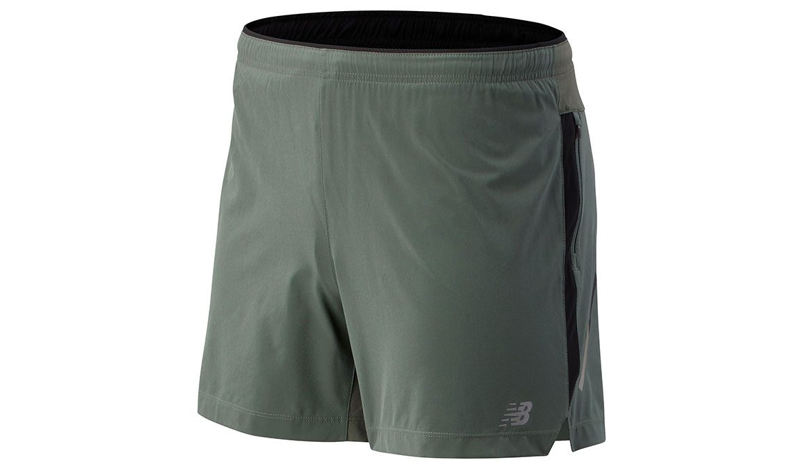 "Men's New Balance Impact Short 5"" - Color: Slate Green Size: S, Light Green, large, image 1"