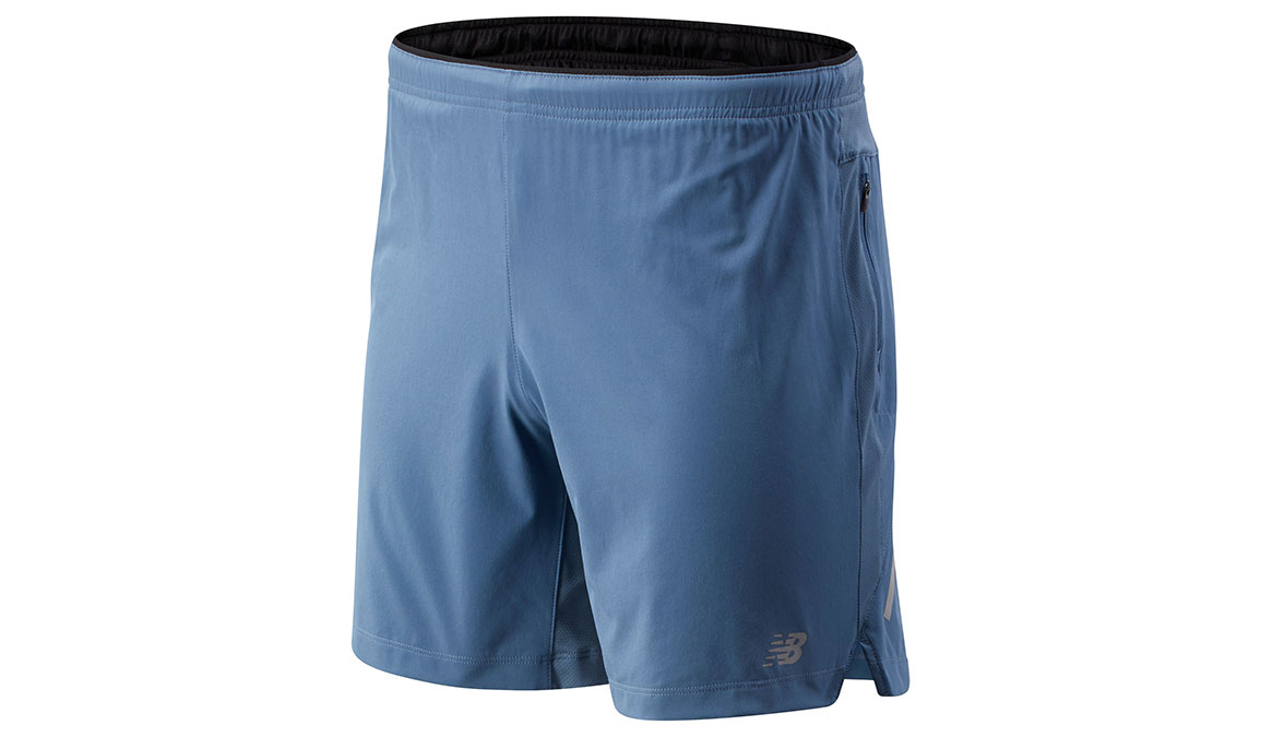 """Men's New Balance Impact Short 7"""" - Color: Chambray Size: M, Blue/Silver, large, image 1"""