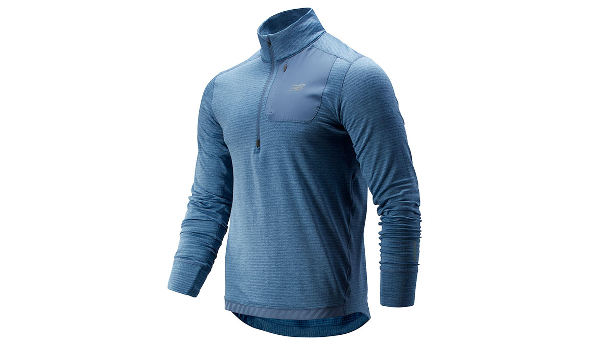 Men's New Balance NB Heat QTR Zip - Color: Chambray Size: S, Blue, large, image 1