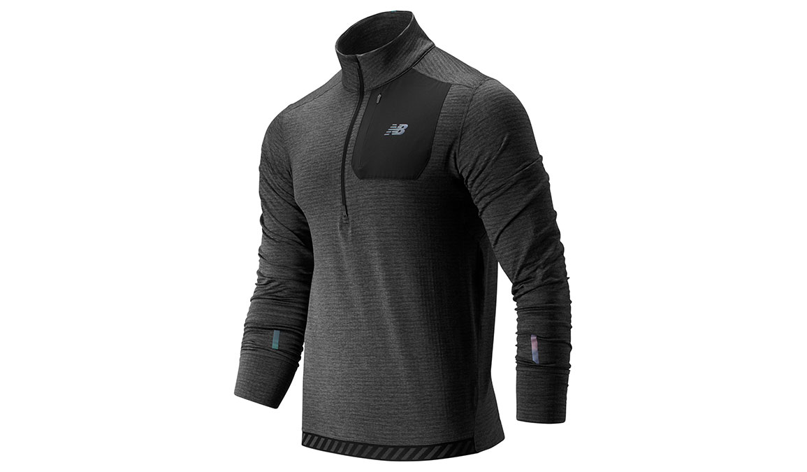 Men's New Balance NB Heat QTR Zip - Color: Heather Charcoa Size: S, Heather Charcoal, large, image 1