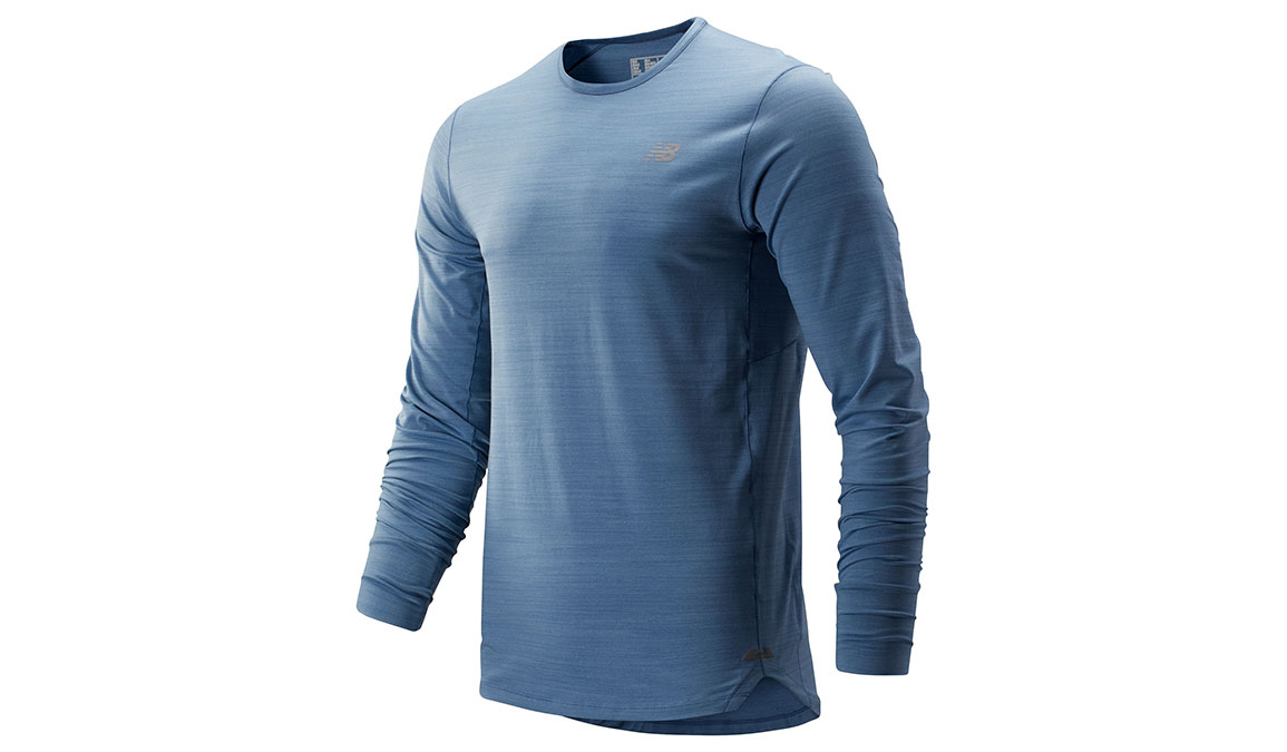 Men's New Balance Seasonless Long Sleeve - Color: Chambray Size: S, Blue, large, image 1