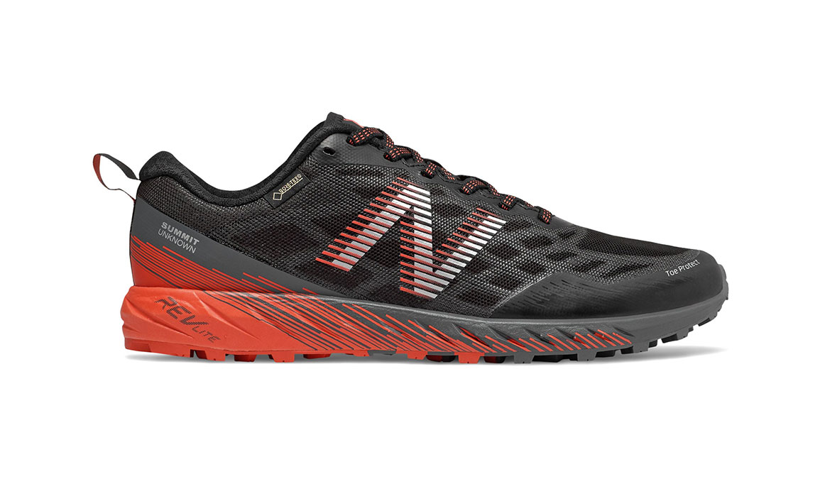 Men's New Balance Summit Unknown Gore-Tex Trail Running Shoe - Color: Black/Coral Glow (Regular Width) - Size: 8, Black/Coral, large, image 1