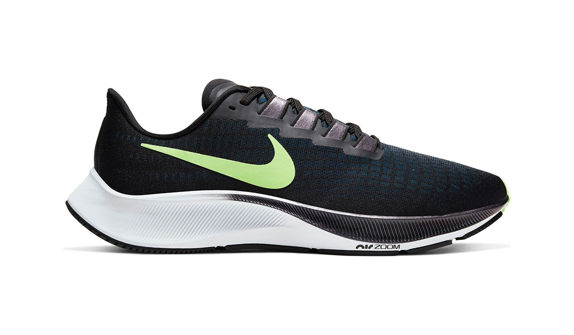 Men's Nike Air Zoom Pegasus 37 Running Shoe - Color: Black/Lime Blast/Valerian Blue/White (Regular Width) - Size: 7, Black/Lime Blast/Valerian Blue/White, large, image 1