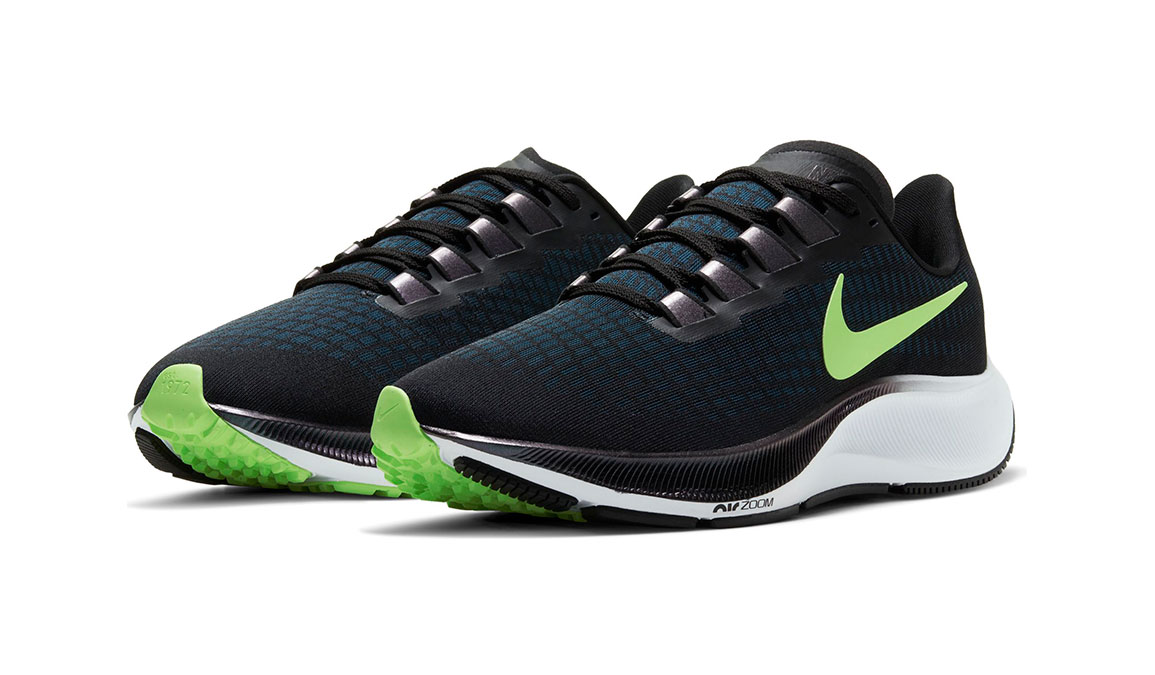 Men's Nike Air Zoom Pegasus 37 Running Shoe - Color: Black/Lime Blast/Valerian Blue/White (Regular Width) - Size: 7, Black/Lime Blast/Valerian Blue/White, large, image 3