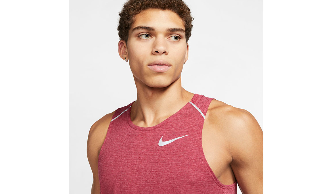 Men's Nike Breathe Rise 365 Running Tank - Color: Noble Red/Heather Size: S, Noble Red/Heather, large, image 3