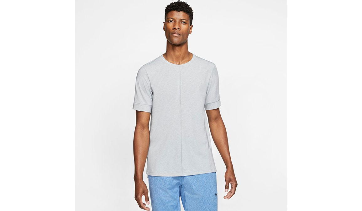 Men's Nike Dri-FIT Yoga Short Sleeve Top - Color: Light Smoke Grey/Heather Size: S, Light Smoke Grey/Heather, large, image 1