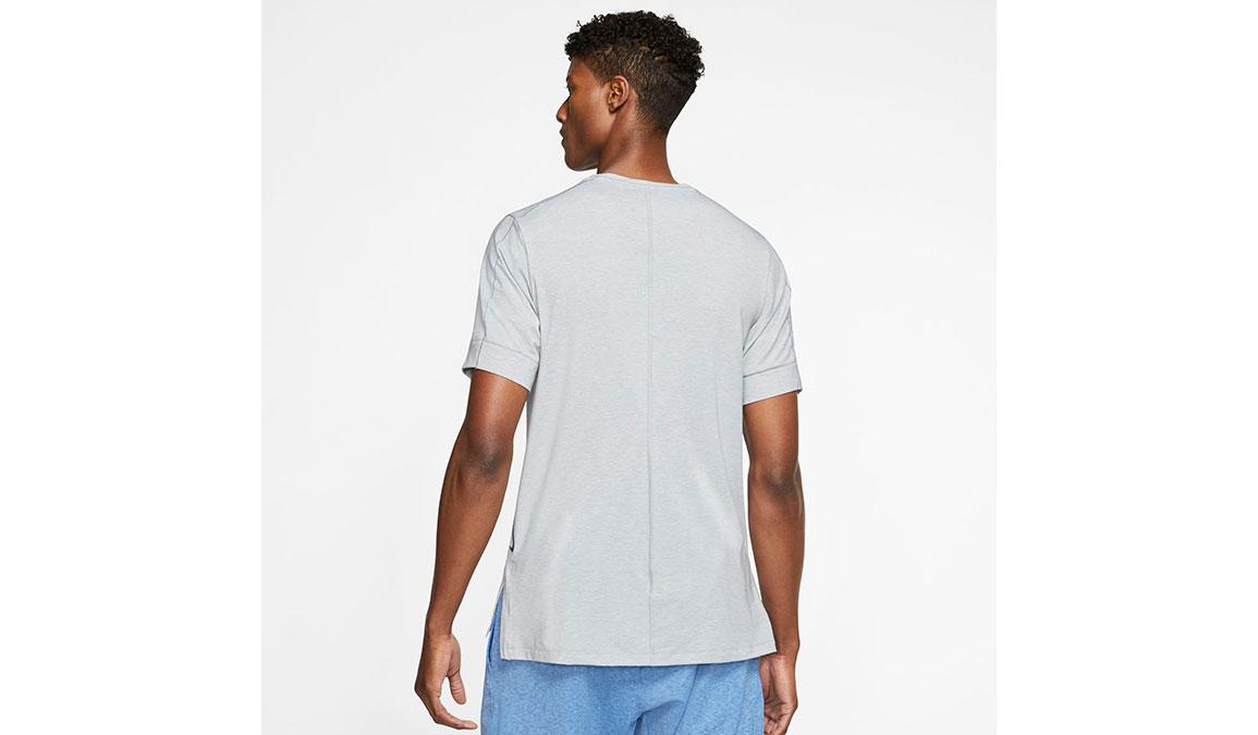 Men's Nike Dri-FIT Yoga Short Sleeve Top - Color: Light Smoke Grey/Heather Size: S, Light Smoke Grey/Heather, large, image 2