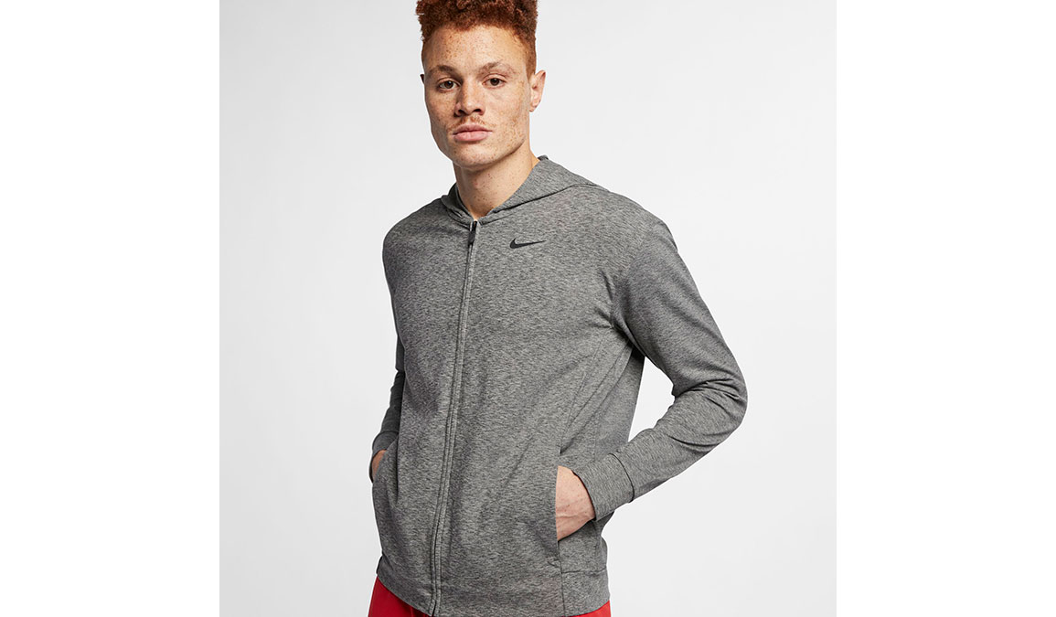 Men's Nike Dry-Fit Training Hoodie - Color: Black/Heather Size: XS, Black/Heather, large, image 1