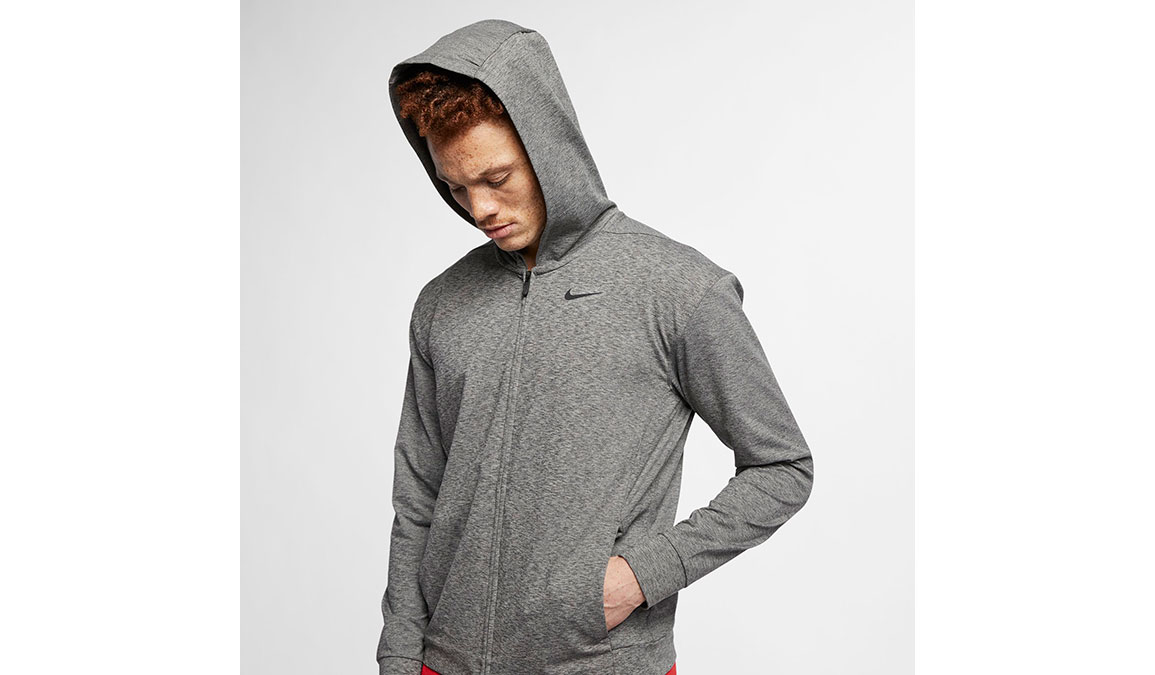 Men's Nike Dry-Fit Training Hoodie - Color: Black/Heather Size: XS, Black/Heather, large, image 2