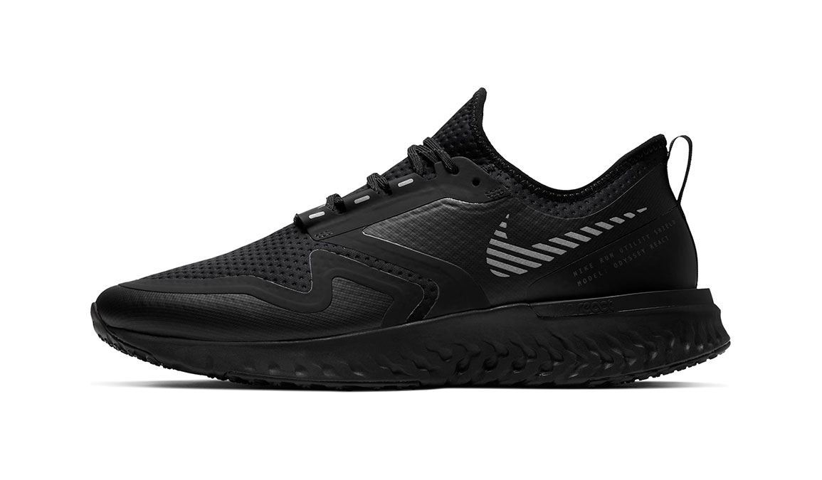 Men's Nike Odyssey React Shield 2 Running Shoe - Color: Black/Black (Regular Width) - Size: 6, Black, large, image 2