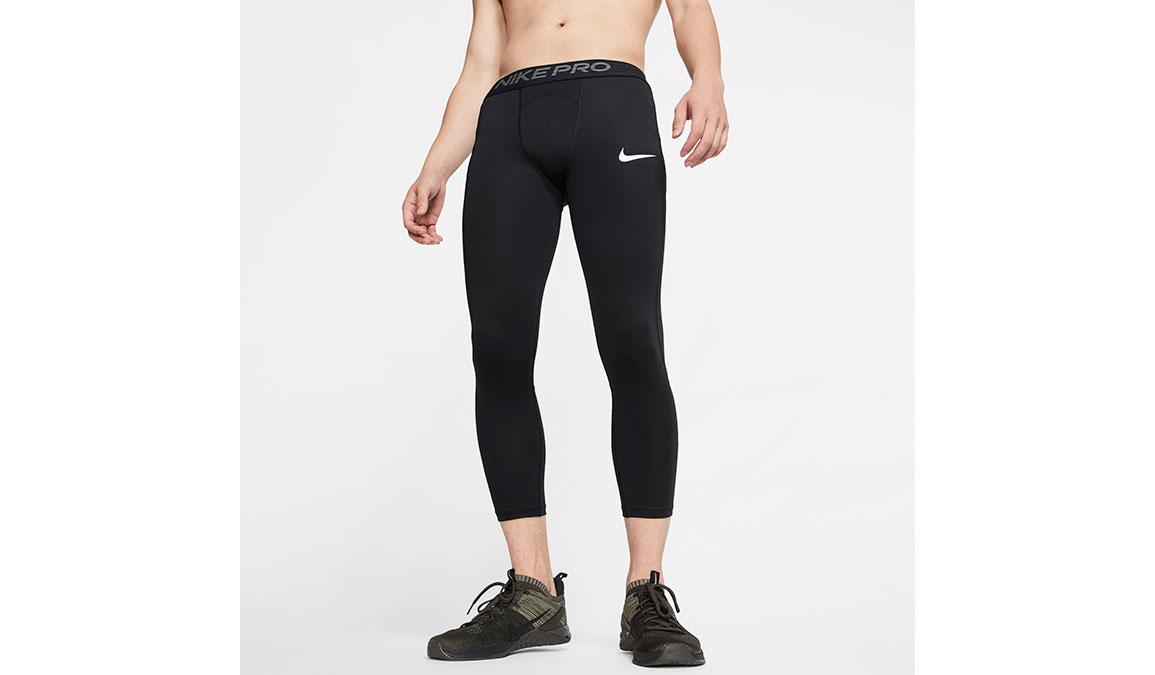 Men's Nike Pro 3/4 Tights - Color: Black/White Size: L, Black/White, large, image 1