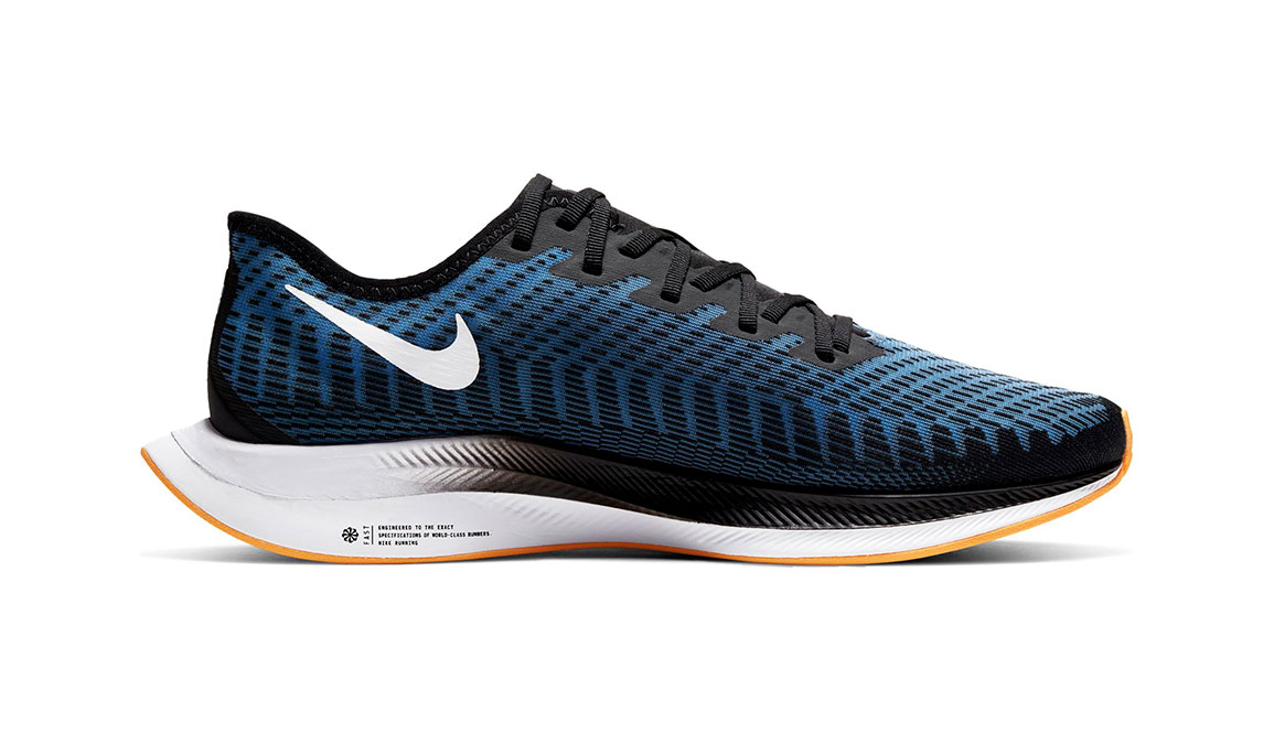 Men's Nike Zoom Pegasus Turbo 2 Running Shoe - Color: Black/University Blue/Laser Orange (Regular Width) - Size: 9, Black/University Blue/Laser Orange, large, image 2