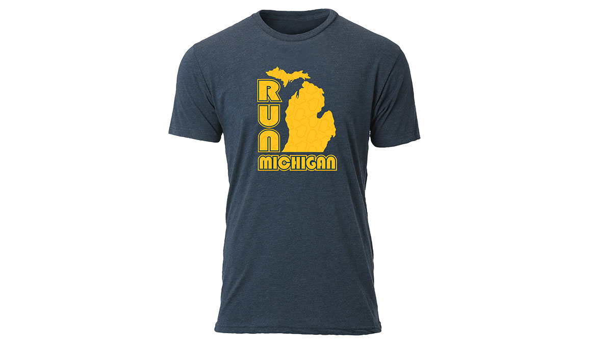 Men's Ouray Run Michigan Glove Tee - Color: Vintage Navy Size: S, Navy, large, image 1