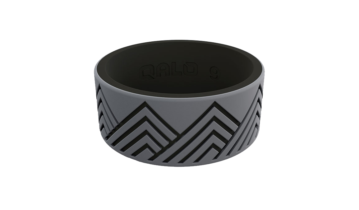 Men's Qalo Strata Mountain Silicone Ring - Color: Grey/Black Size: 8, Grey/Black, large, image 2