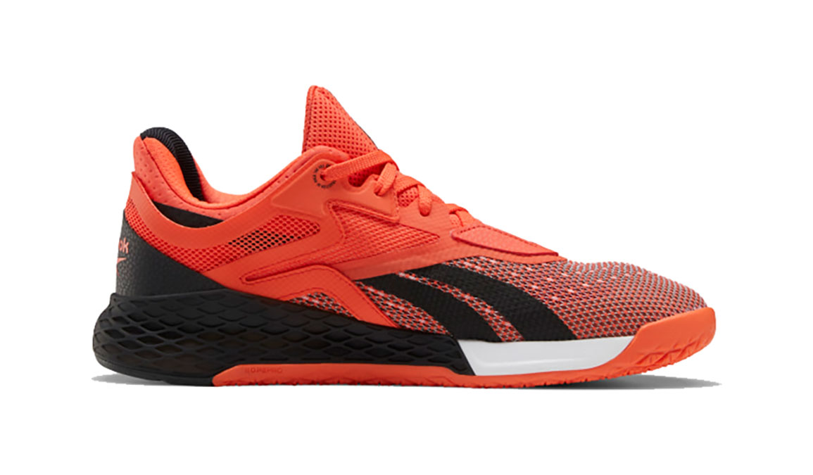 Men's Reebok Nano X Training Shoe - Color: Vivid Orange/Black/White (Regular Width) - Size: 8, Black/Orange, large, image 2