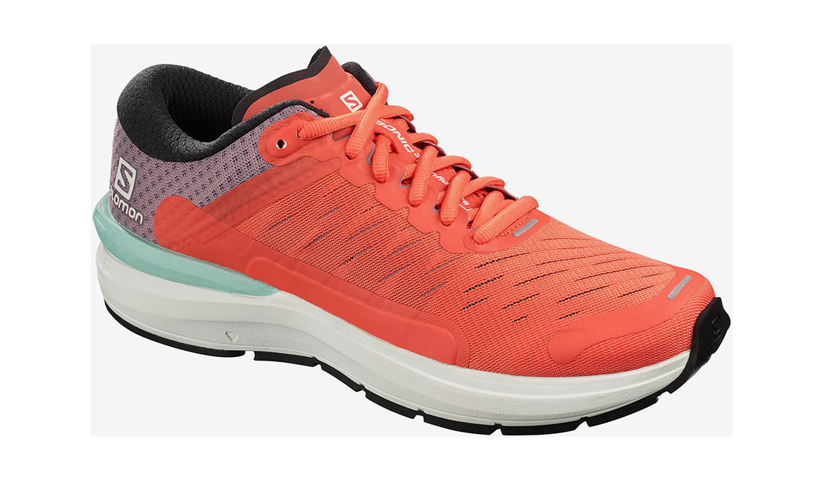 Men's Salomon Sonic 3 Confidence Running Shoe - Color: Stormy Weather/White/Cherry Tomato (Regular Width) - Size: 7, Grey/Orange, large, image 1