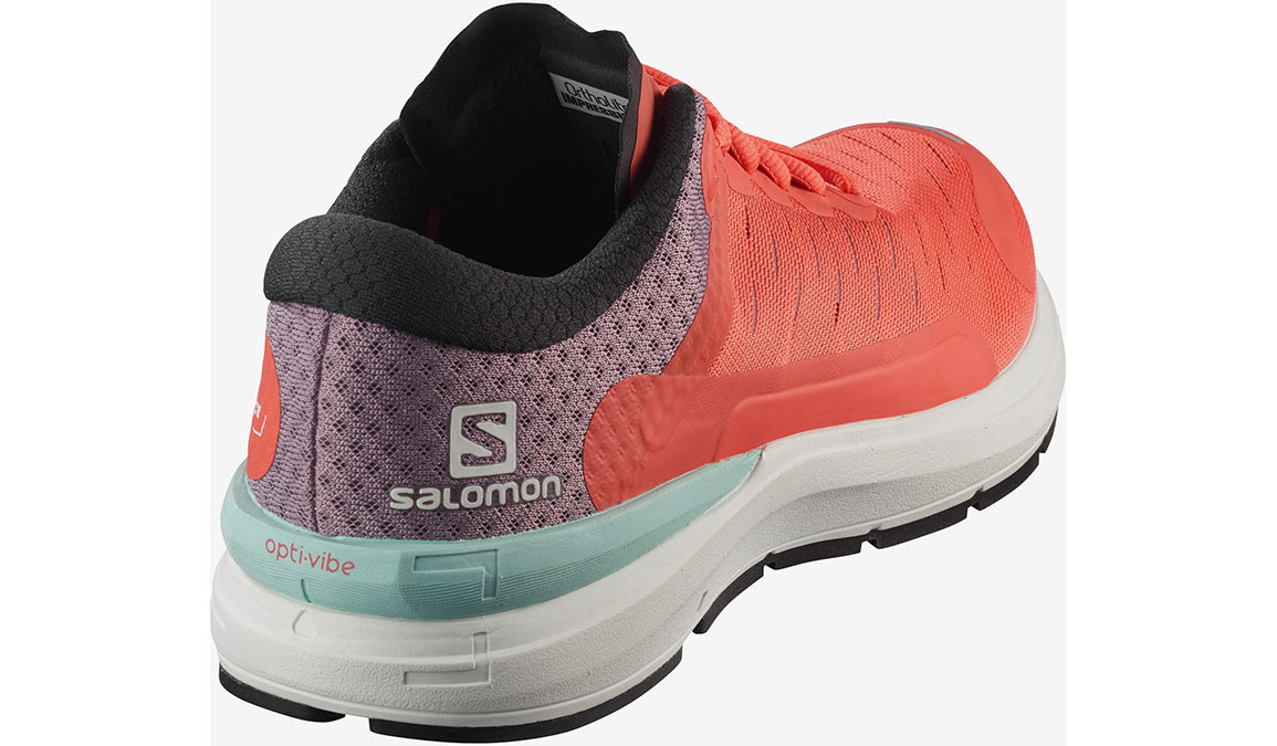 Men's Salomon Sonic 3 Confidence Running Shoe - Color: Stormy Weather/White/Cherry Tomato (Regular Width) - Size: 7, Grey/Orange, large, image 3