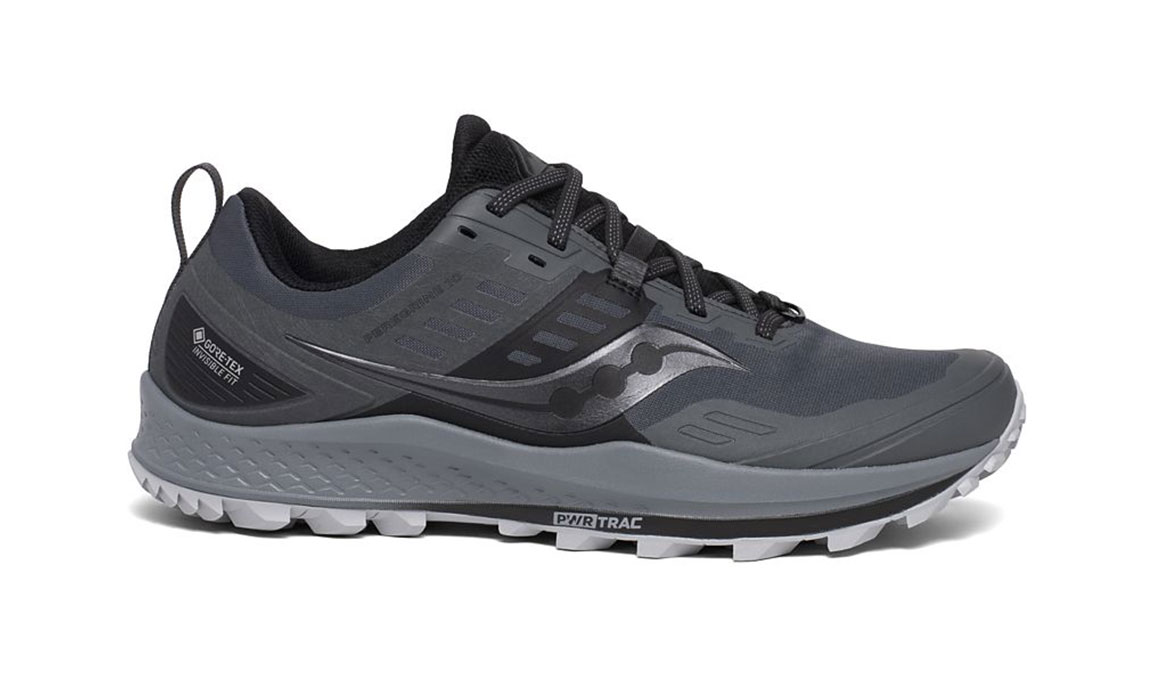 Men's Saucony Peregrine 10 Gore-Tex Trail Running Shoe - Color: Grey/Black (Regular Width) - Size: 8.5, Grey/Black, large, image 1