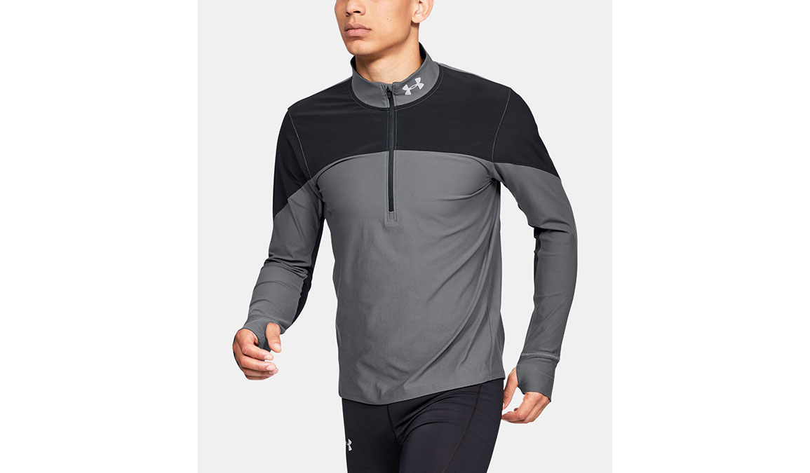Men's Under Armour Qualifier Half Zip Long Sleeve Shirt - Color: Black/Pitch Grey Size: S, Black/Pitch Grey, large, image 1