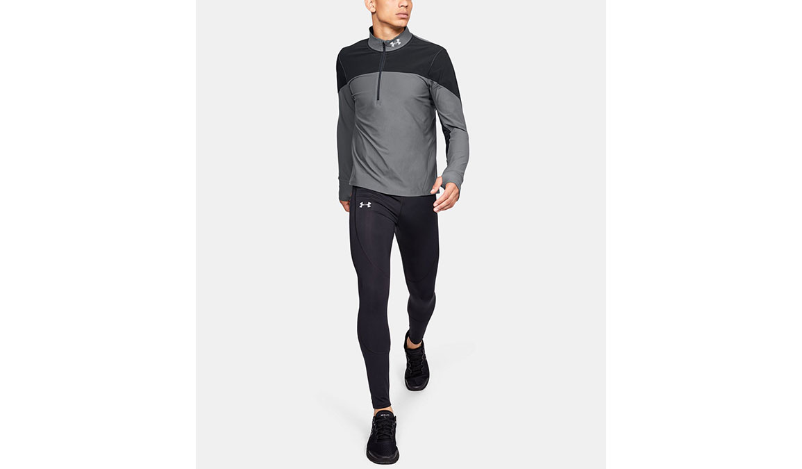 Men's Under Armour Qualifier Half Zip Long Sleeve Shirt - Color: Black/Pitch Grey Size: S, Black/Pitch Grey, large, image 4