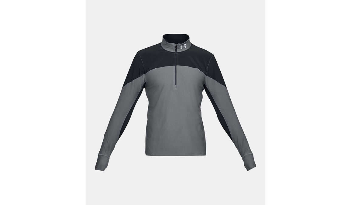 Men's Under Armour Qualifier Half Zip Long Sleeve Shirt - Color: Black/Pitch Grey Size: S, Black/Pitch Grey, large, image 5