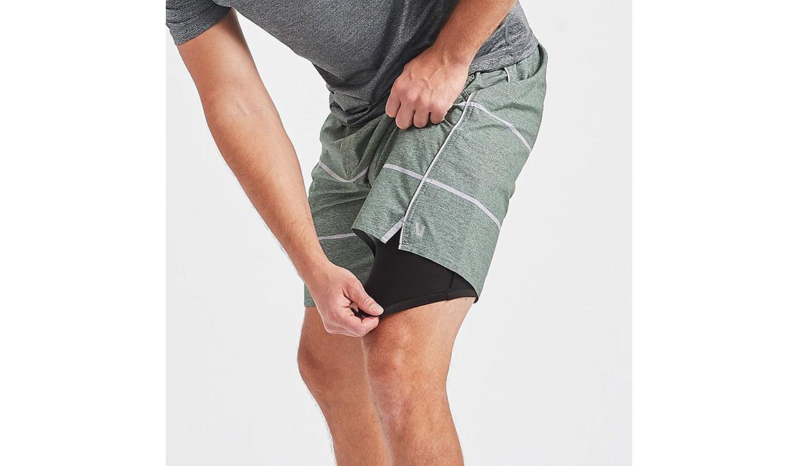 "Men's Vuori 7"" Trail Short - Color: Evergreen Heather Stripe Size: S, Evergreen Heather Stripe, large, image 4"