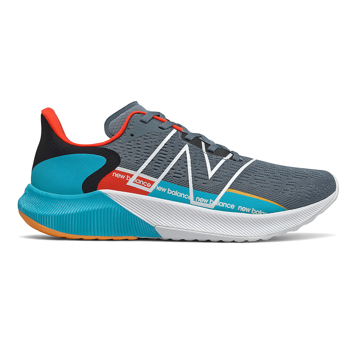 Men's New Balance Fuelcell Propel V2 Running Shoe - Color: Ocean Grey/Virtual Sky/Ghost Pepper - Size: 7 - Width: Regular, Ocean Grey/Virtual Sky/Ghost Pepper, large, image 1