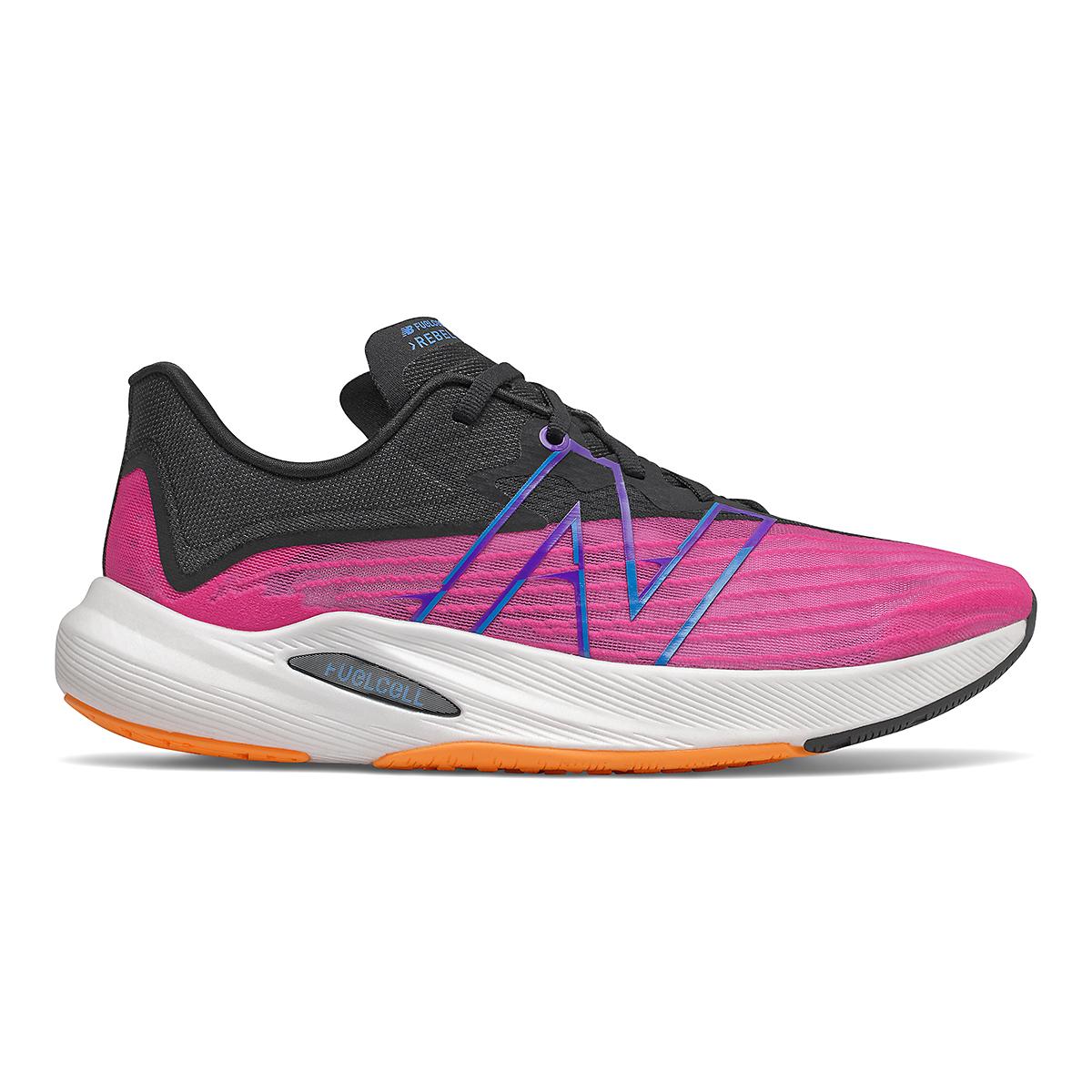 Men's New Balance Fuelcell Rebel V2 Running Shoe - Color: Pink Glo/Black - Size: 6 - Width: Wide, Pink Glo/Black, large, image 1