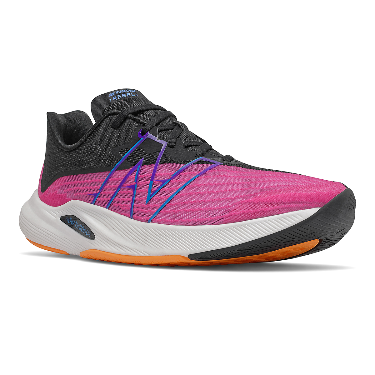 Men's New Balance Fuelcell Rebel V2 Running Shoe - Color: Pink Glo/Black - Size: 6 - Width: Wide, Pink Glo/Black, large, image 2