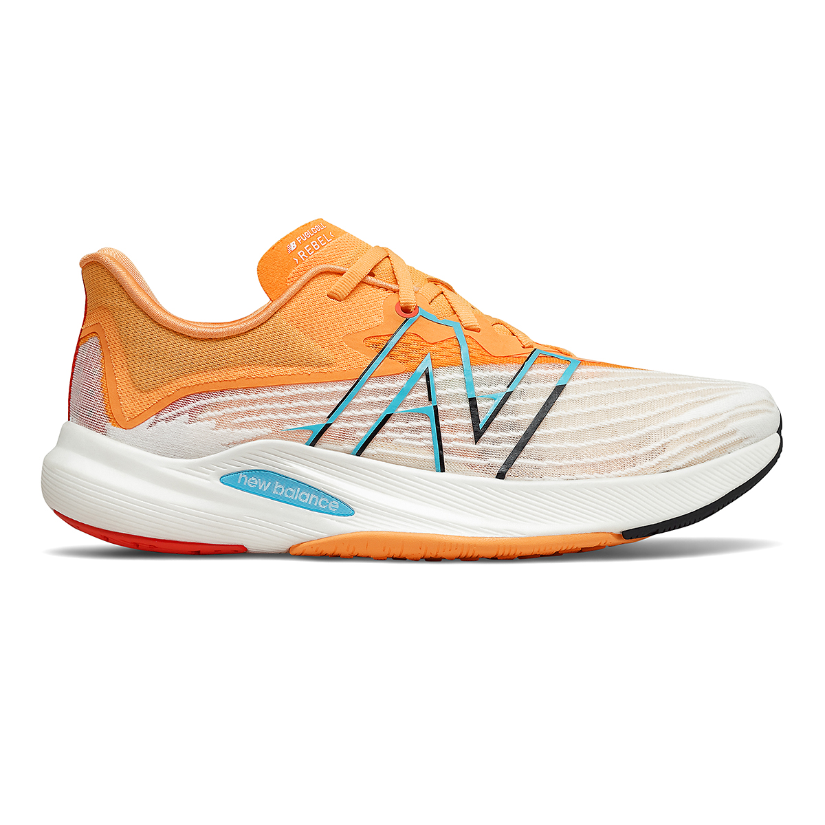 Men's New Balance Fuelcell Rebel V2 Running Shoe - Color: White/Habanero/Virtual Sky - Size: 11 - Width: Regular, White/Habanero/Virtual Sky, large, image 1