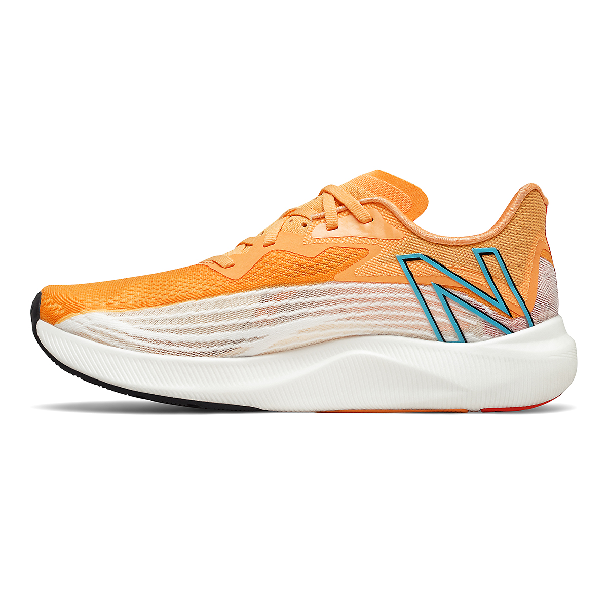 Men's New Balance Fuelcell Rebel V2 Running Shoe - Color: White/Habanero/Virtual Sky - Size: 11 - Width: Regular, White/Habanero/Virtual Sky, large, image 2