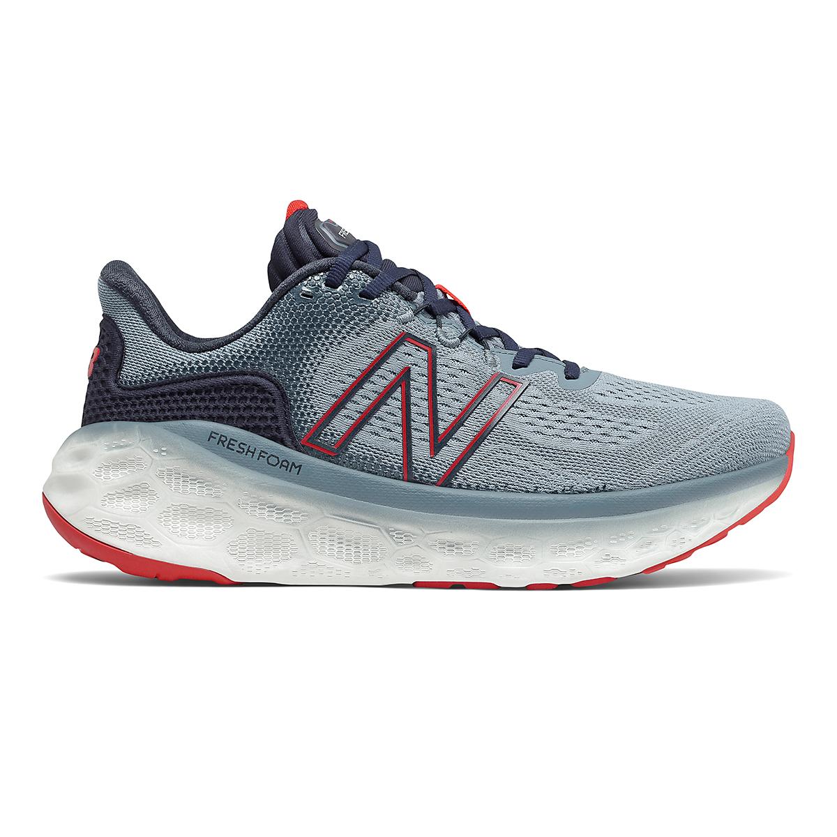 Men's New Balance Fresh Foam More V3 Running Shoe - Color: Ocean Grey/Velocity Red/Eclipse/Virtual Sky - Size: 7 - Width: Wide, Ocean Grey/Velocity Red/Eclipse/Virtual Sky, large, image 1