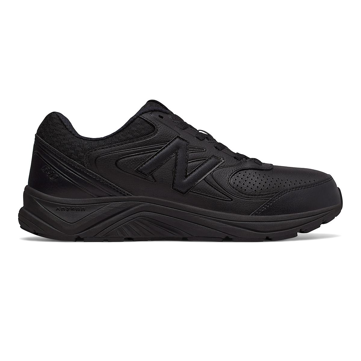 Men's New Balance 840v2 Leather Walking Shoe - Color: Black/Black - Size: 7 - Width: Wide, Black/Black, large, image 1