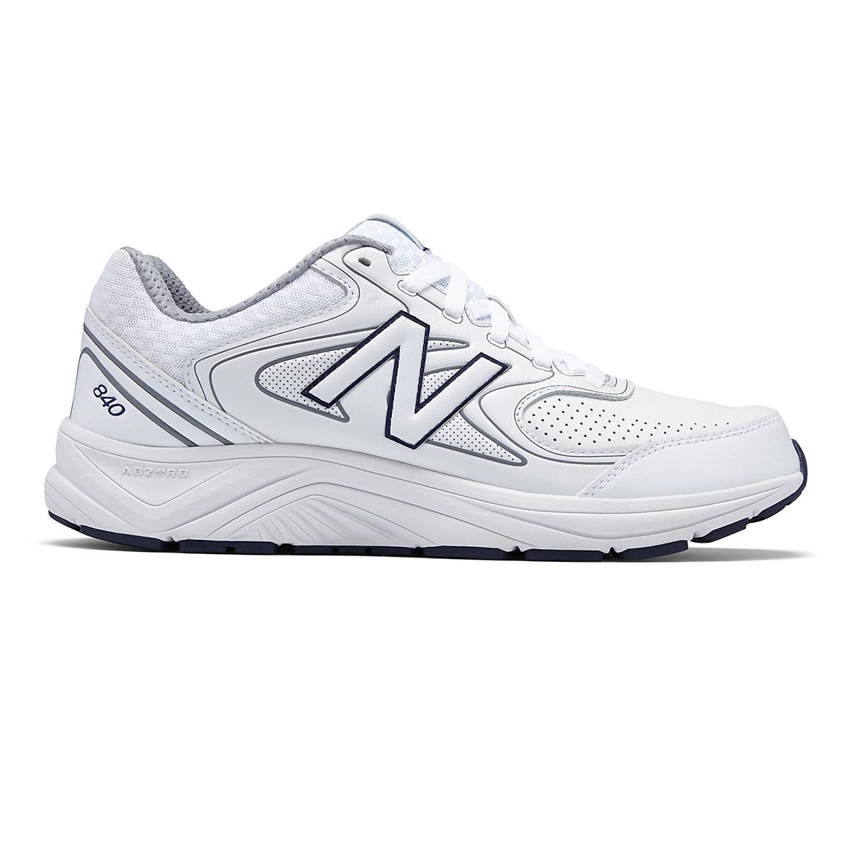 Men's New Balance 840v2 Leather Walking Shoe - Color: White/Navy - Size: 7 - Width: Wide, White/Navy, large, image 1