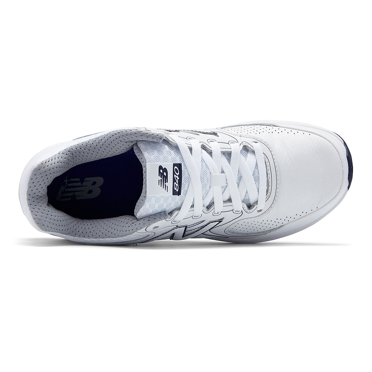 Men's New Balance 840v2 Leather Walking Shoe - Color: White/Navy - Size: 7 - Width: Wide, White/Navy, large, image 3
