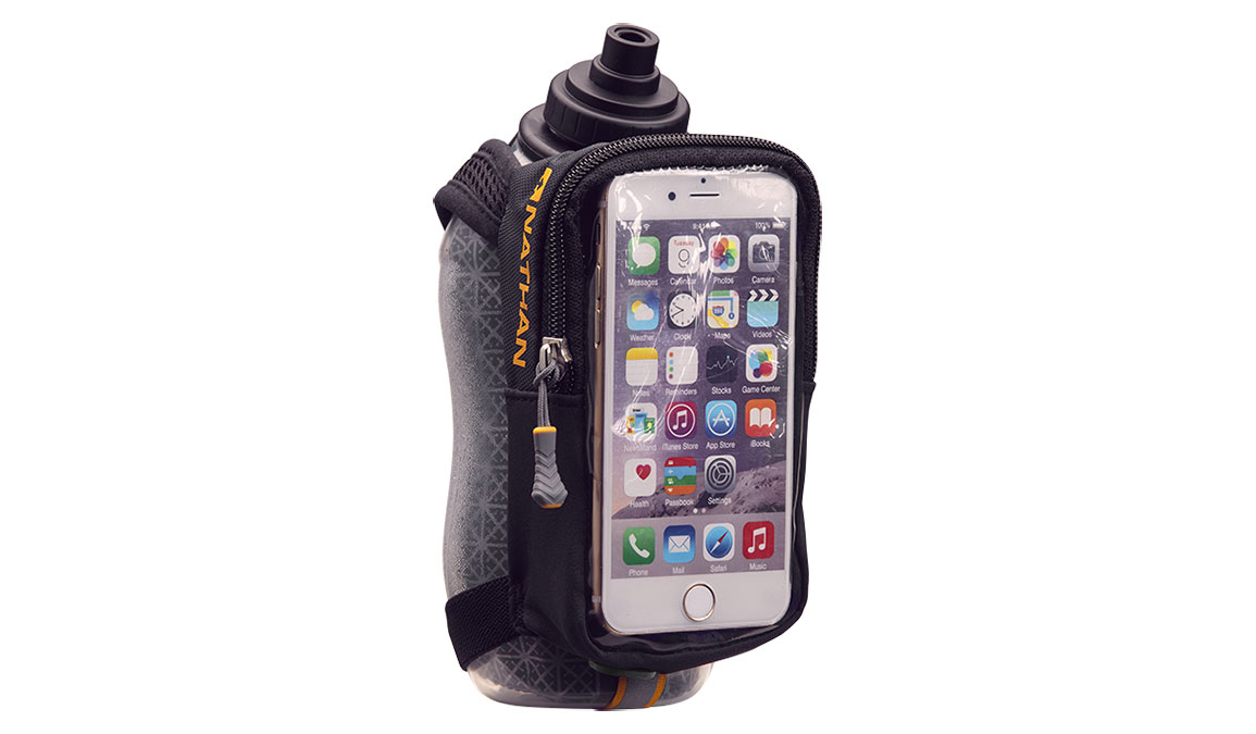 Nathan SpeedView Plus Insulated Flask with Phone Case - Color: Black Size: 18oz, Black, large, image 1