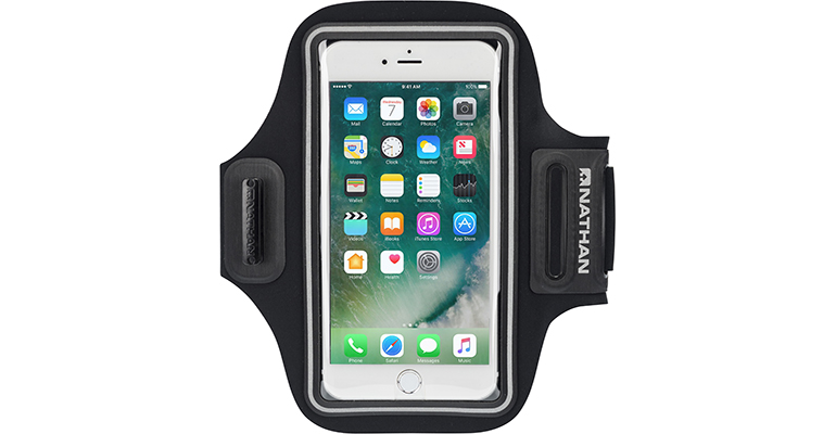 Nathan Stride Sport Phone Carrier - Color: Black/Coral - Size: OSFM, Black, large, image 1