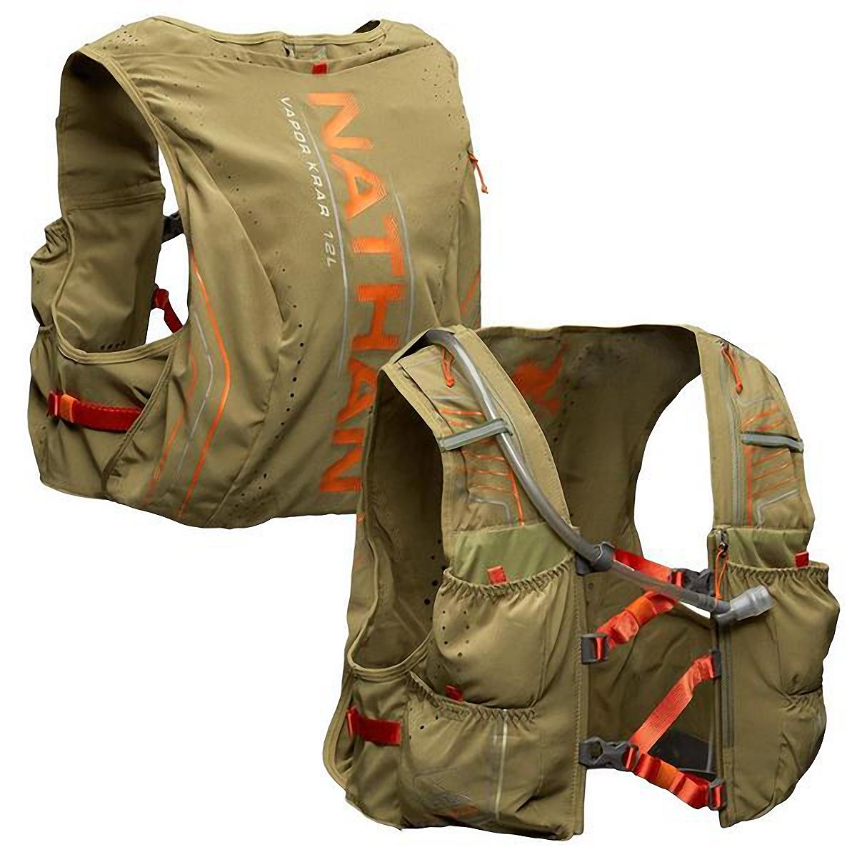 Men's Nathan Vaporkrar 2.0 12 L Race Vest - Color: Mosstone/Exuberance - Size: S, Mosstone/Exuberance, large, image 4