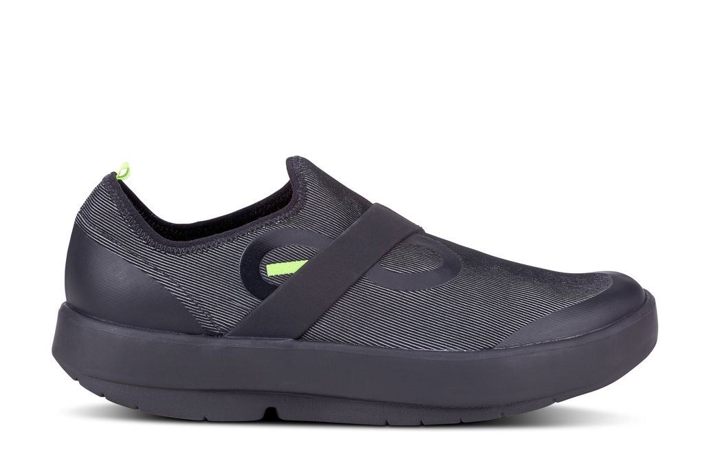 Men's Oofos OOmg Fibre Slip-On Recovery Shoe - Color: Black/Grey (Regular Width) - Size: 12, Black/Grey, large, image 1