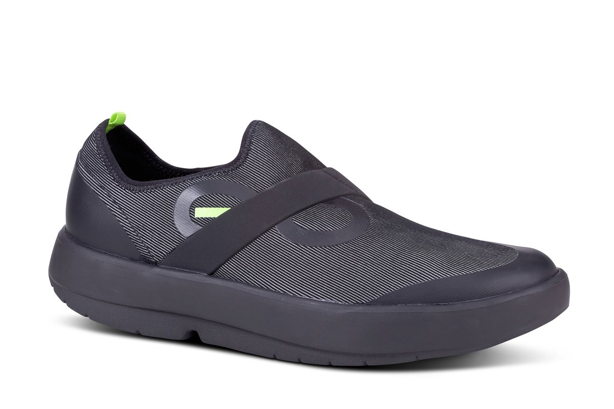 Men's Oofos OOmg Fibre Slip-On Recovery Shoe - Color: Black/Grey (Regular Width) - Size: 12, Black/Grey, large, image 2