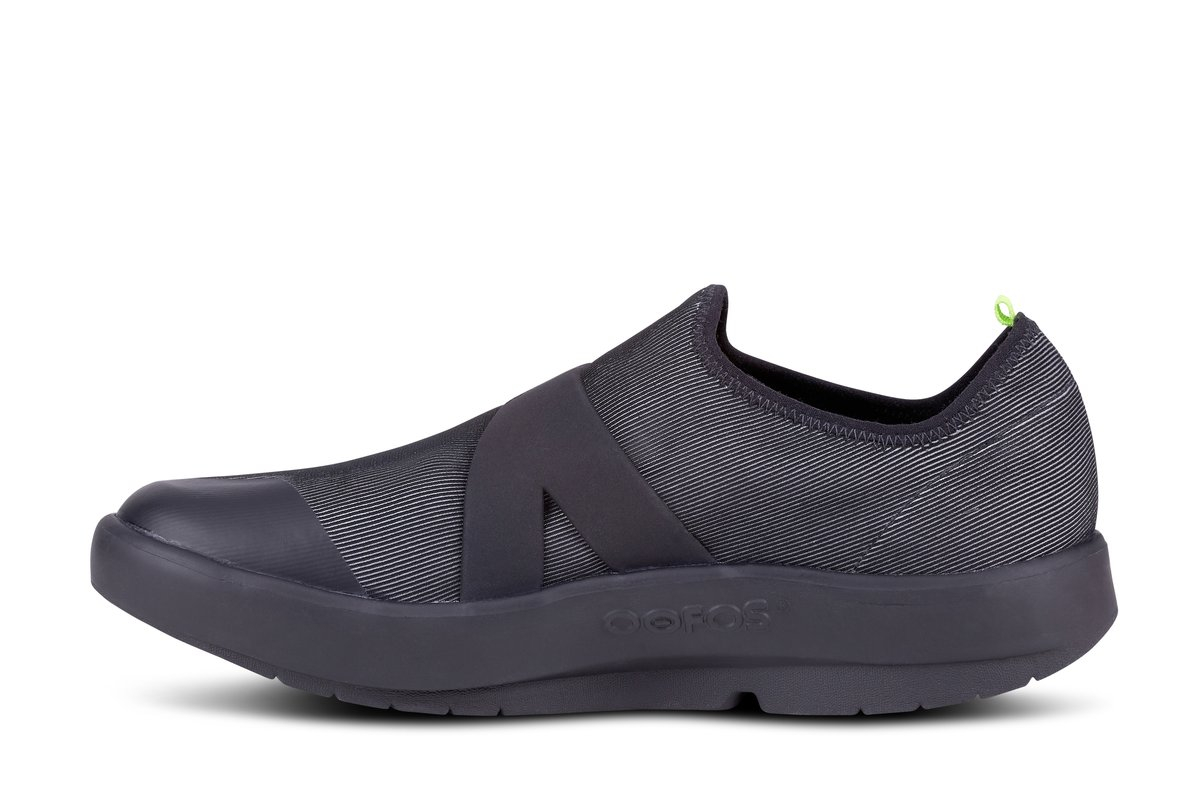 Men's Oofos OOmg Fibre Slip-On Recovery Shoe - Color: Black/Grey (Regular Width) - Size: 12, Black/Grey, large, image 4