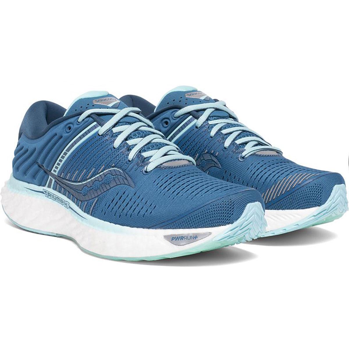 Women's Saucony Triumph 17 Running Shoe - Color: Blue/Aqua - Size: 5 - Width: Regular, Blue/Aqua, large, image 4